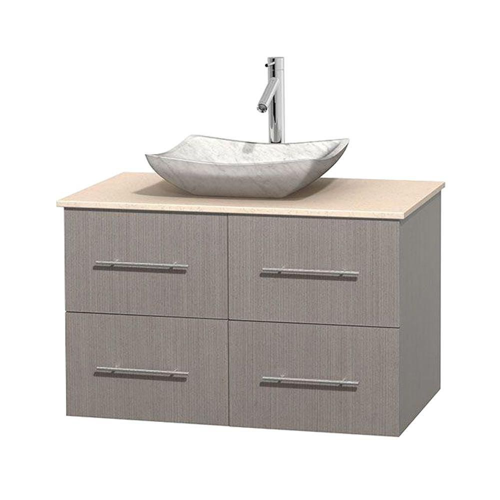 Meuble simple Centra 36 po. chêne gris, comptoir marbre ivoire, lavabo blanc Carrare, sans miroir