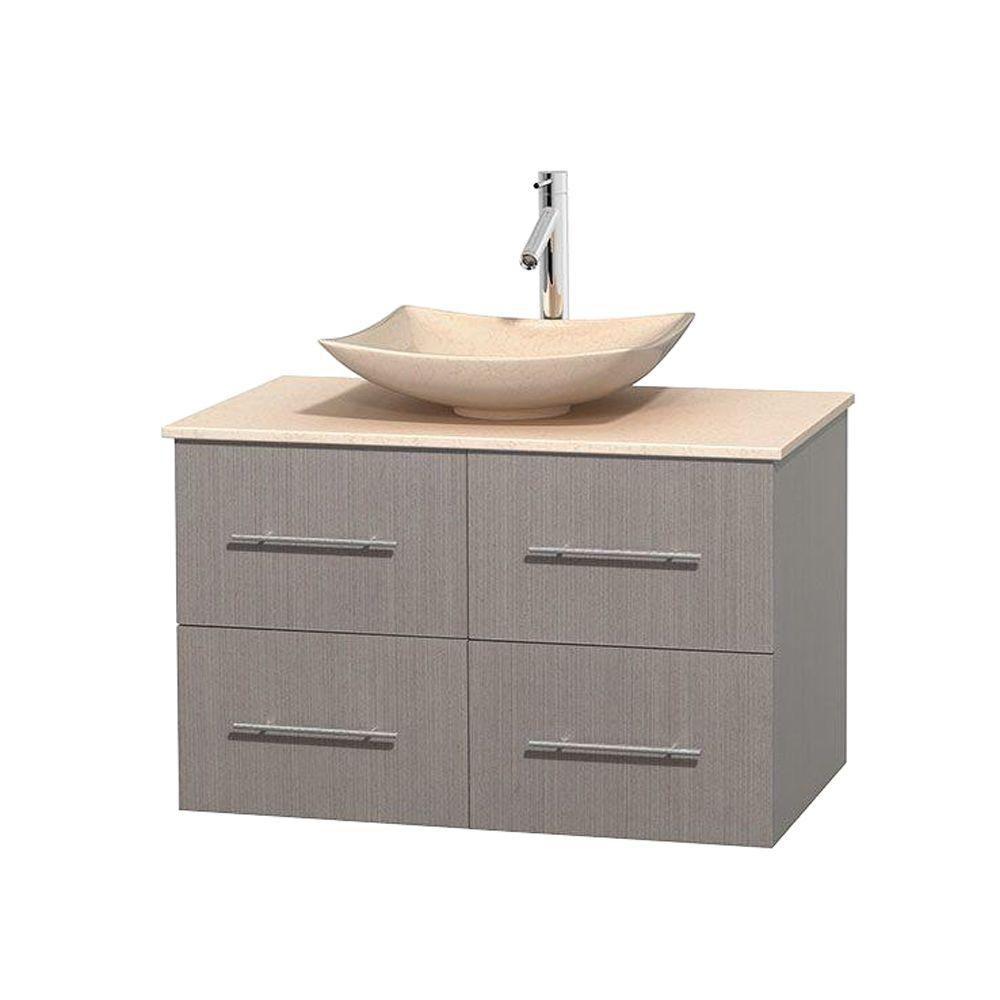 Meuble simple Centra 36 po. chêne gris, comptoir marbre ivoire, lavabo ivoire, sans miroir
