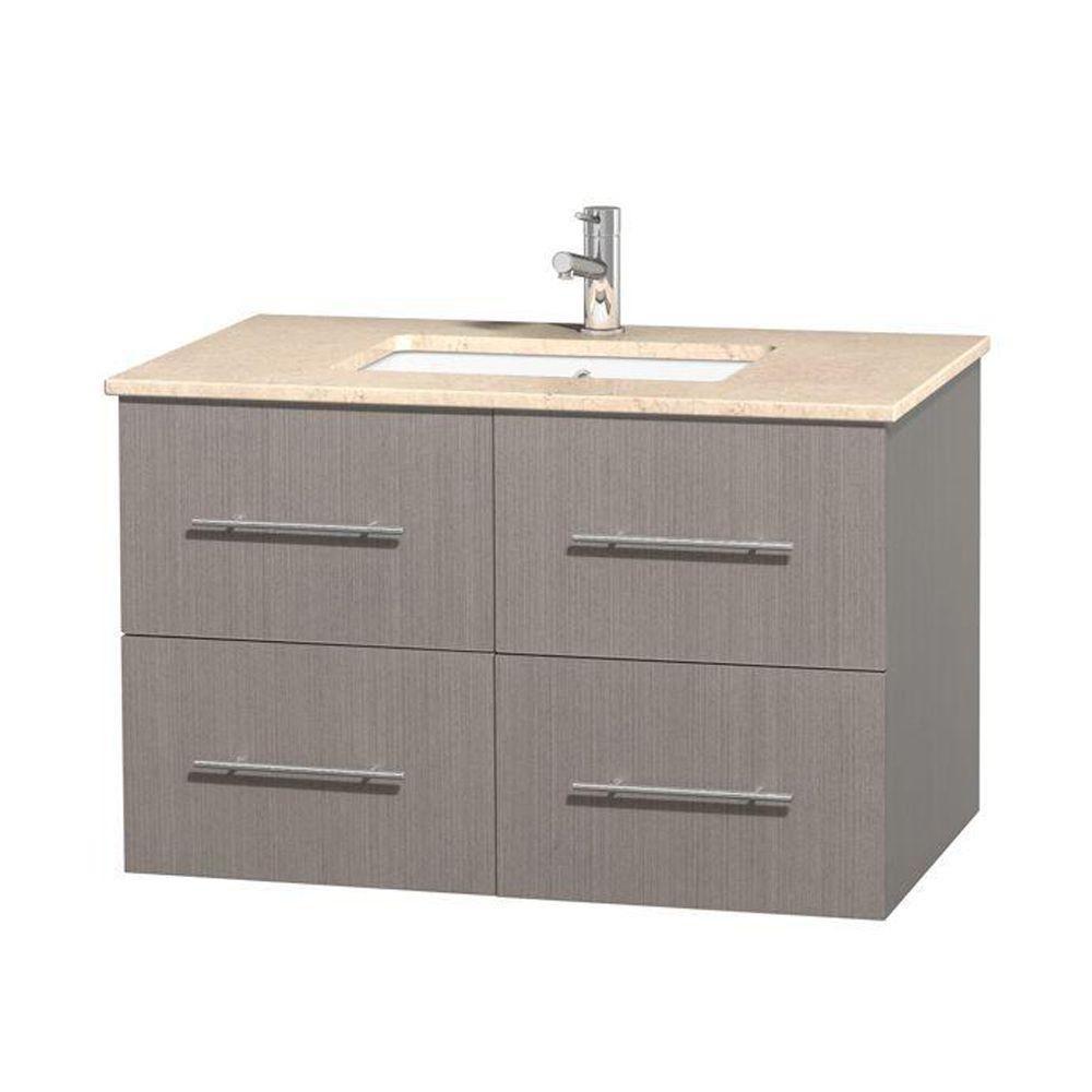 Meuble unique Centra 36 po. chêne gris, comptoir marbre ivoire, lavabo carré sans miroir