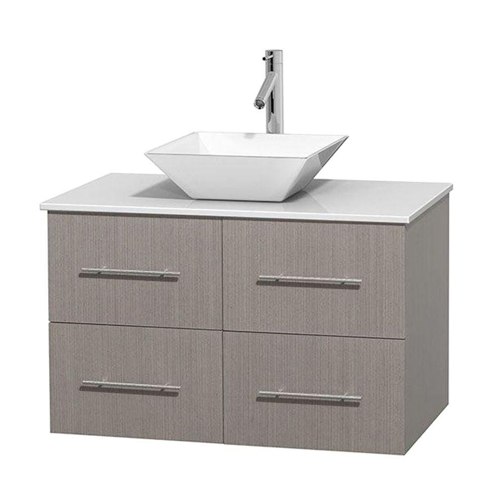 Centra 36-inch W Vanity in Grey Oak with Solid Top with White Basin