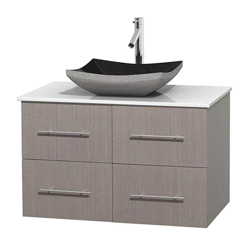 Meuble simple Centra 36 po. chêne gris, comptoir solide, lavabo granit noir, sans miroir