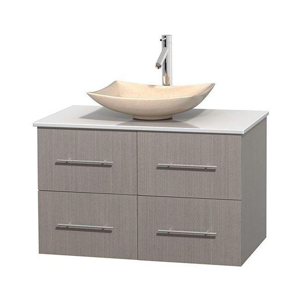 Centra 36-inch W Vanity in Grey Oak with Solid Top with Ivory Basin
