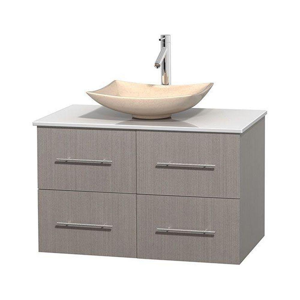 Meuble simple Centra 36 po. chêne gris, comptoir solide, lavabo ivoire, sans miroir