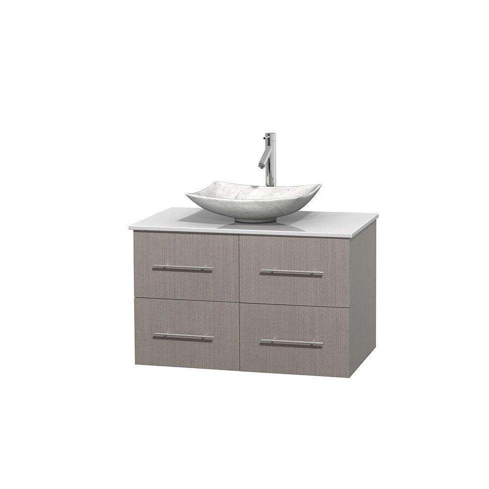 Meuble simple Centra 36 po. chêne gris, comptoir solide, lavabo blanc Carrare, sans miroir