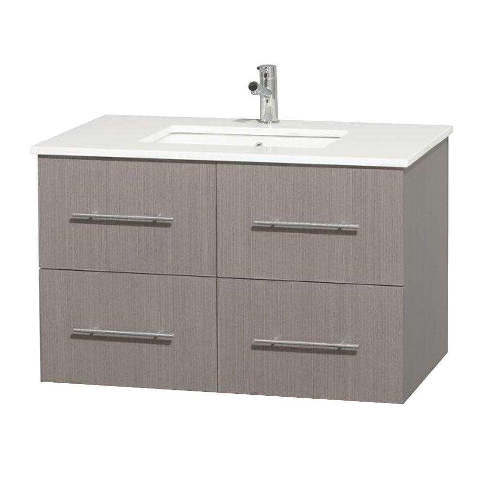 Meuble unique Centra 36 po. chêne gris, comptoir solide, lavabo carré sans miroir