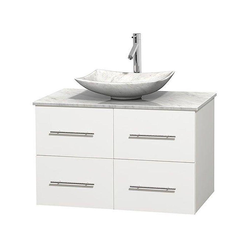 Centra 36-inch W 2-Drawer 2-Door Wall Mounted Vanity in White With Marble Top in White