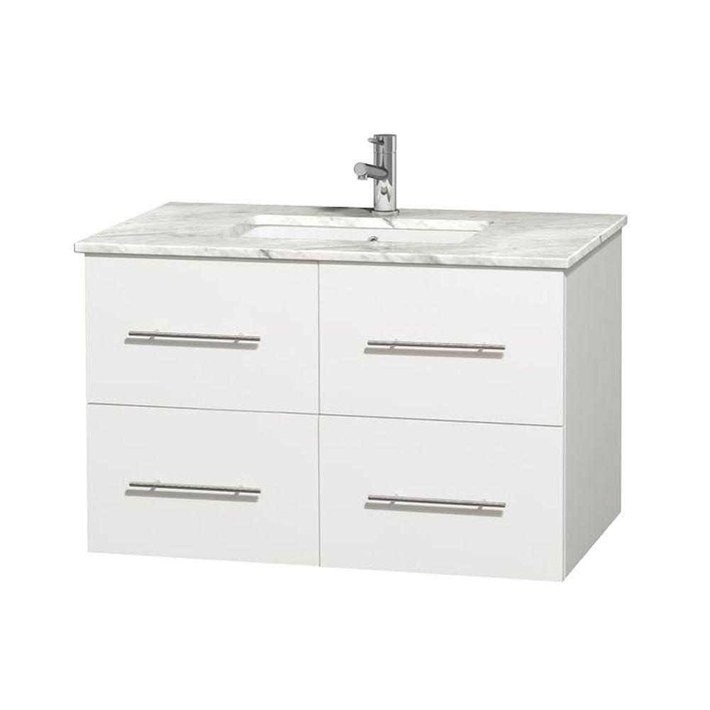 Meuble unique Centra 36 po. blanc, comptoir blanc Carrare, lavabo carré sans miroir