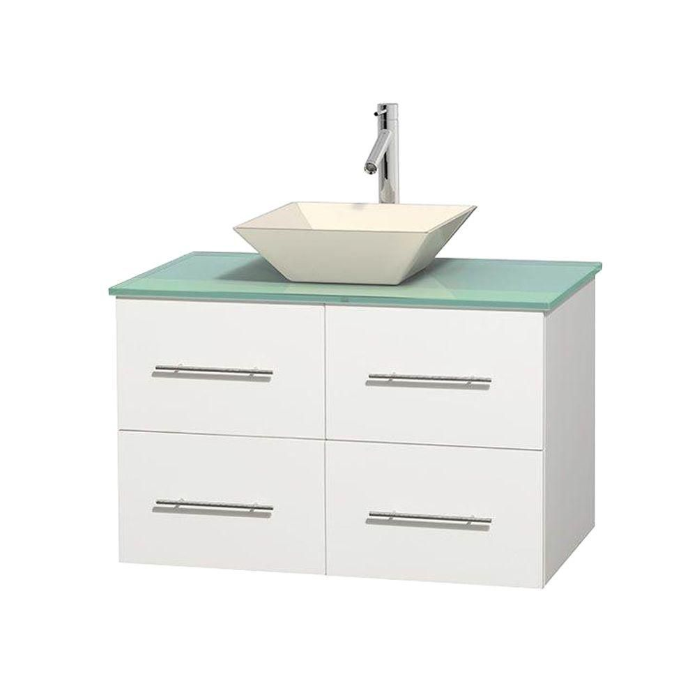 Centra 36-inch W Vanity in White with Glass Top with Bone Basin