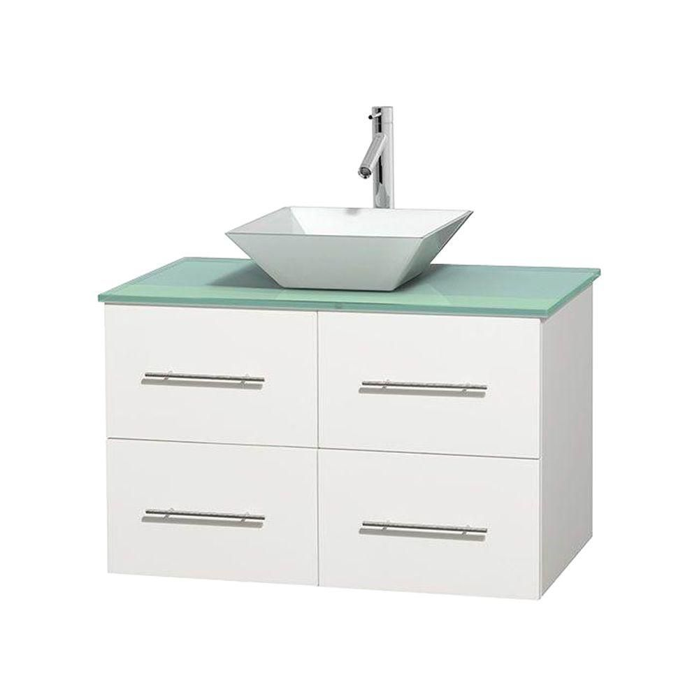 Centra 36 In. Single Vanity in White with Green Glass Top with White Porcelain Sink and No Mirror WCVW00936SWHGGD2WMXX Canada Discount