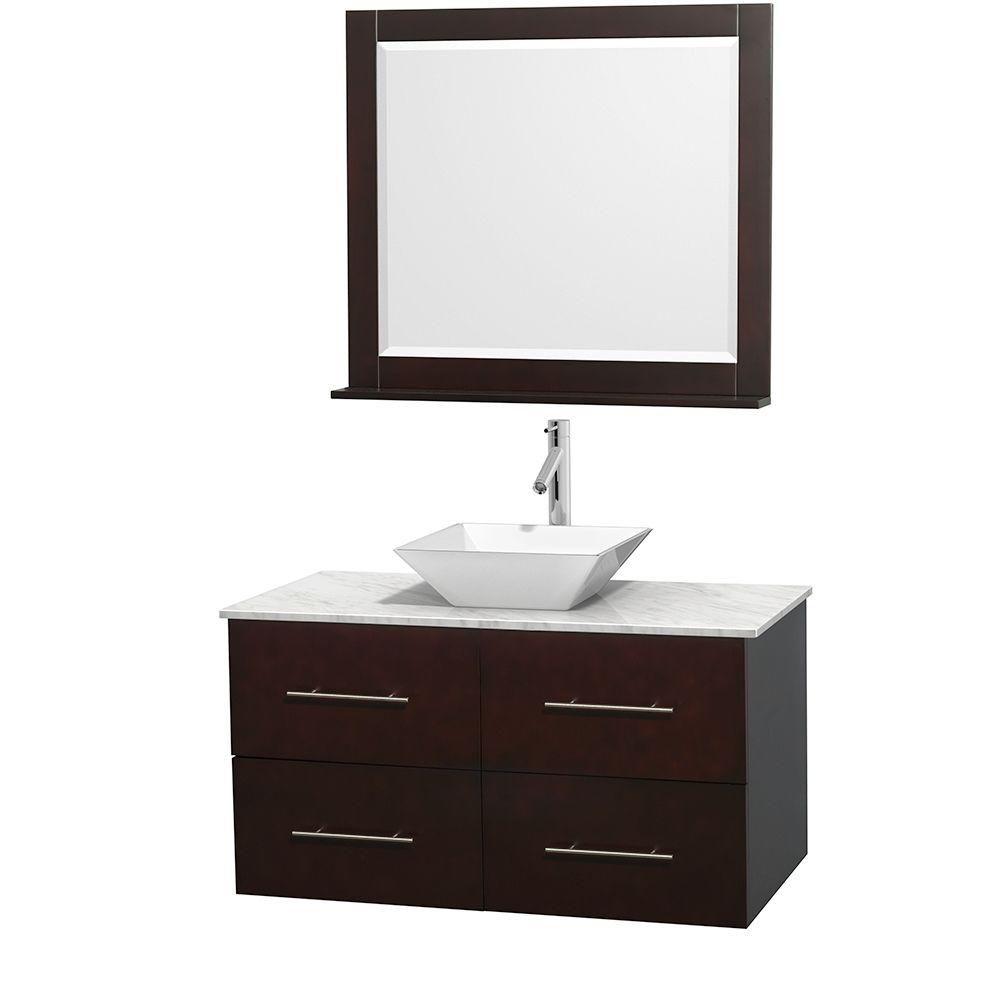 Meuble unique Centra 42 po. espresso, comptoir blanc Carrare, lavabo porcelaine blanche, miroir 3...