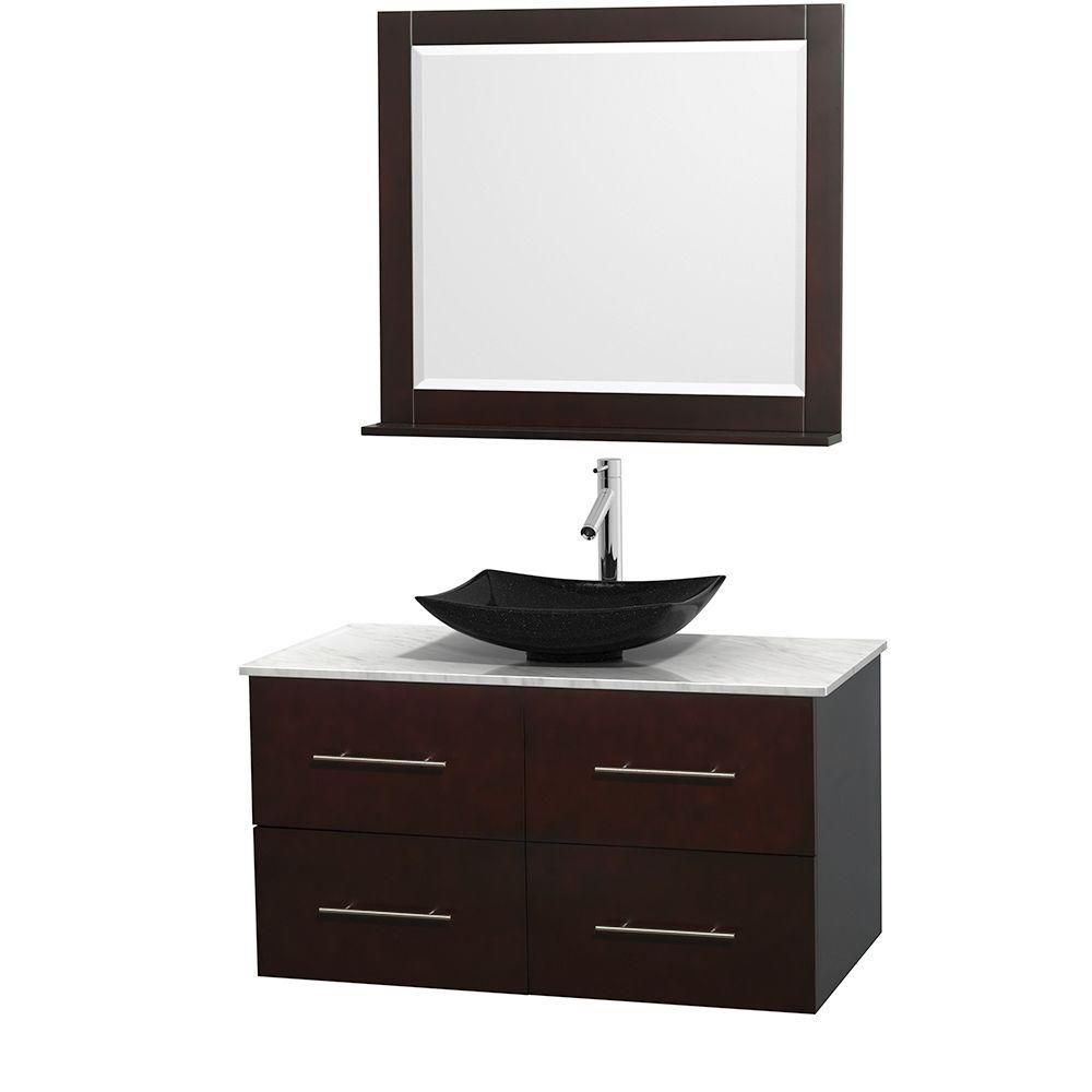 Meuble simple Centra 42 po. espresso, comptoir blanc Carrare, lavabo granit noir, miroir 36 po.