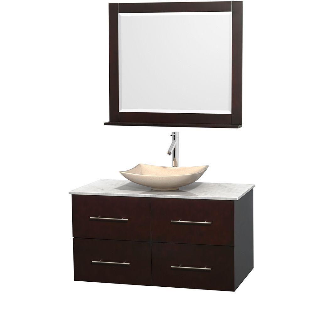 Meuble simple Centra 42 po. espresso, comptoir blanc Carrare, lavabo ivoire, miroir 36 po.