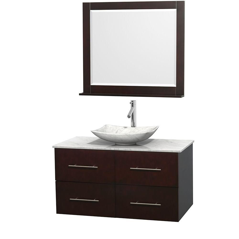 Centra 42-inch W Vanity in Espresso with White Top with White Basin and Mirror