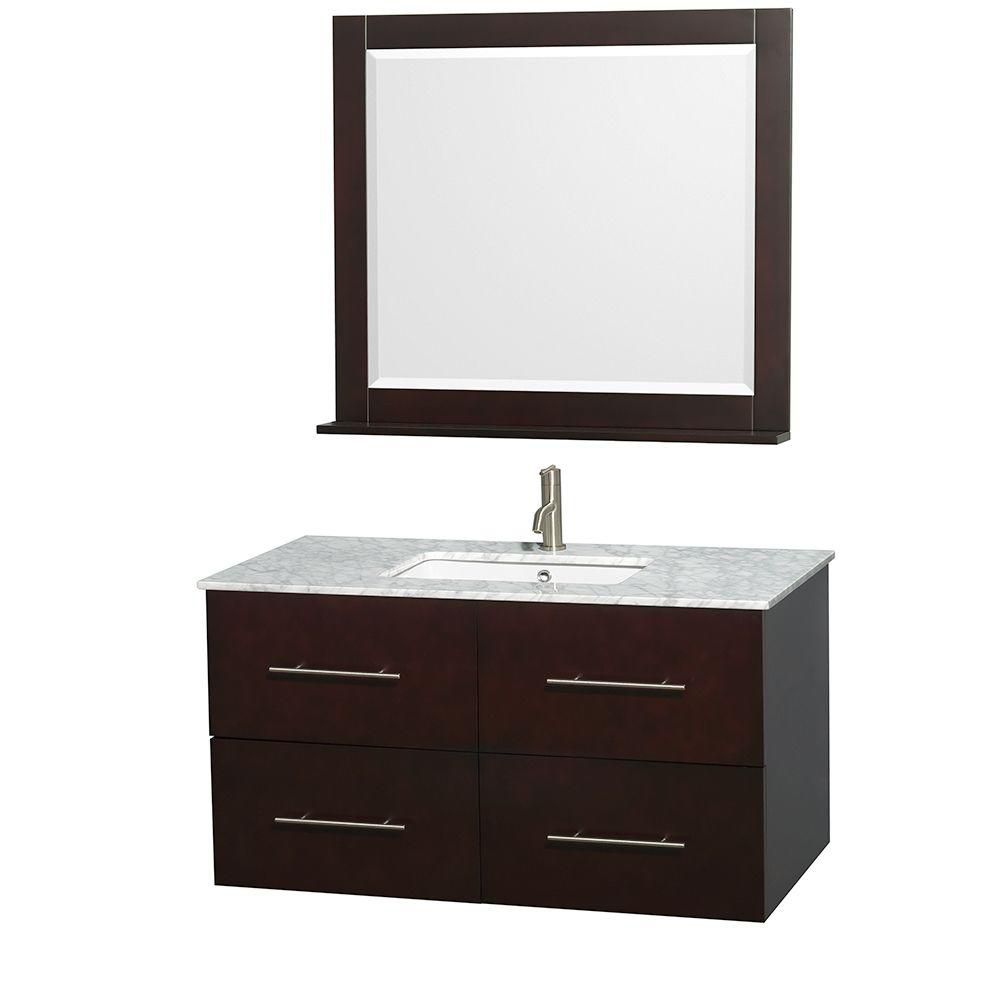 Centra 42-inch W Vanity in Espresso with Top in Carrara White and 36-inch Mirror