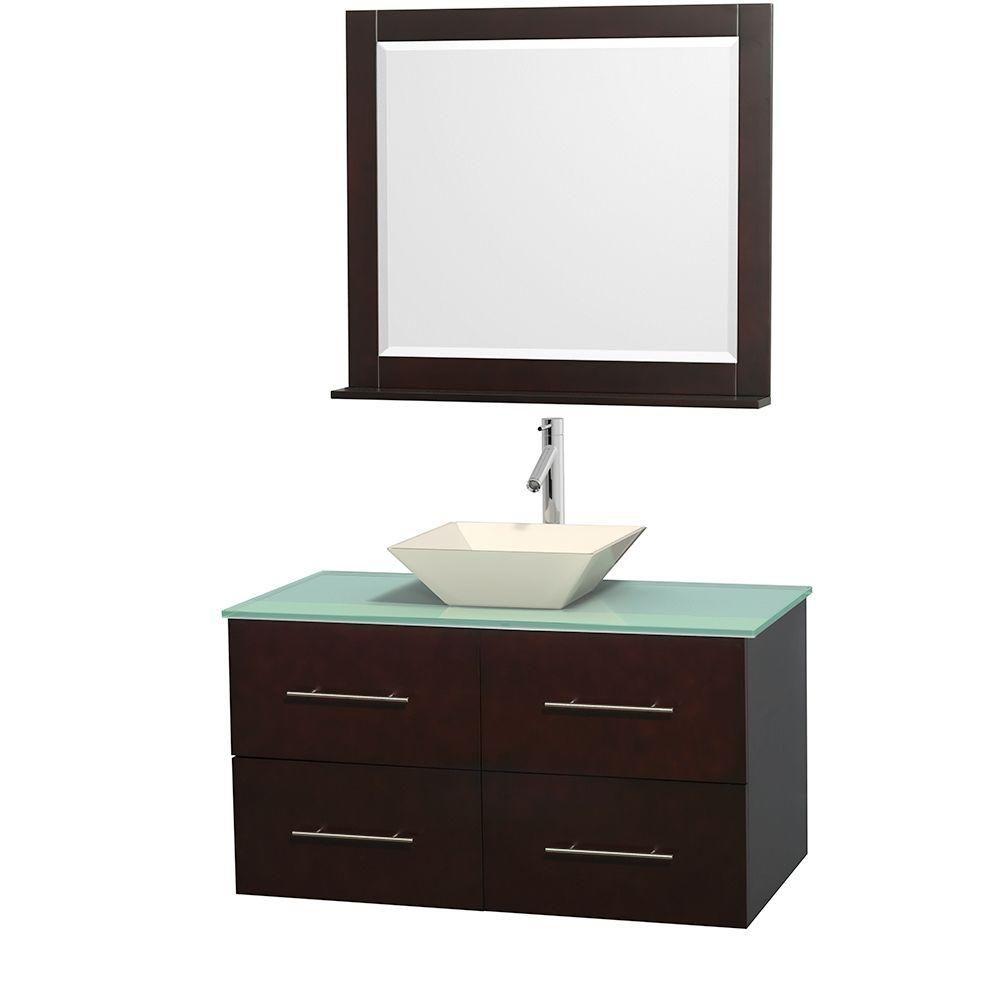 Meuble unique Centra 42 po. espresso, comptoir verre vert, lavabo porcelaine bone, miroir 36 po.