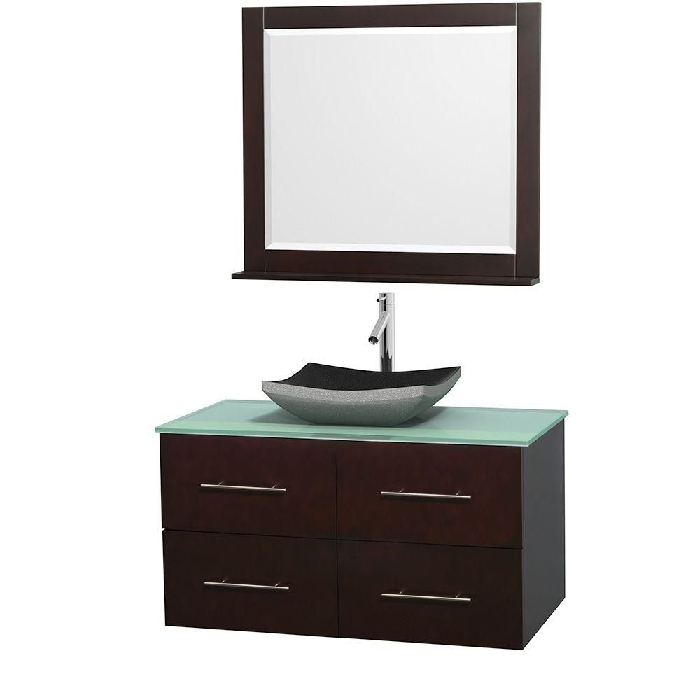 Centra 42-inch W Vanity in Espresso with Glass Top with Black Basin and Mirror