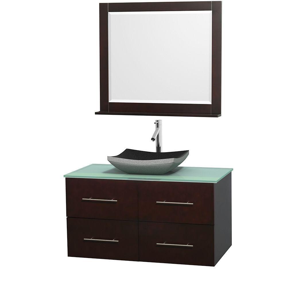 Meuble simple Centra 42 po. espresso, comptoir verre vert, lavabo granit noir, miroir 36 po.
