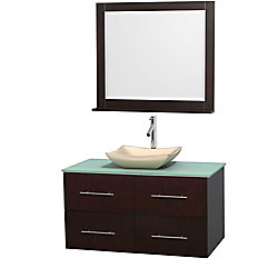 Wyndham Collection Centra 42-inch W 2-Drawer 2-Door Wall Mounted Vanity in Brown With Top in Green With Mirror
