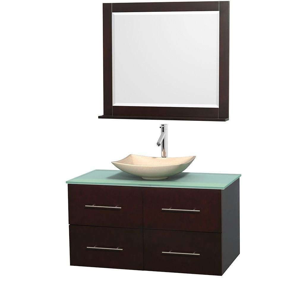 Centra 42-inch W Vanity in Espresso with Glass Top with Ivory Basin and Mirror
