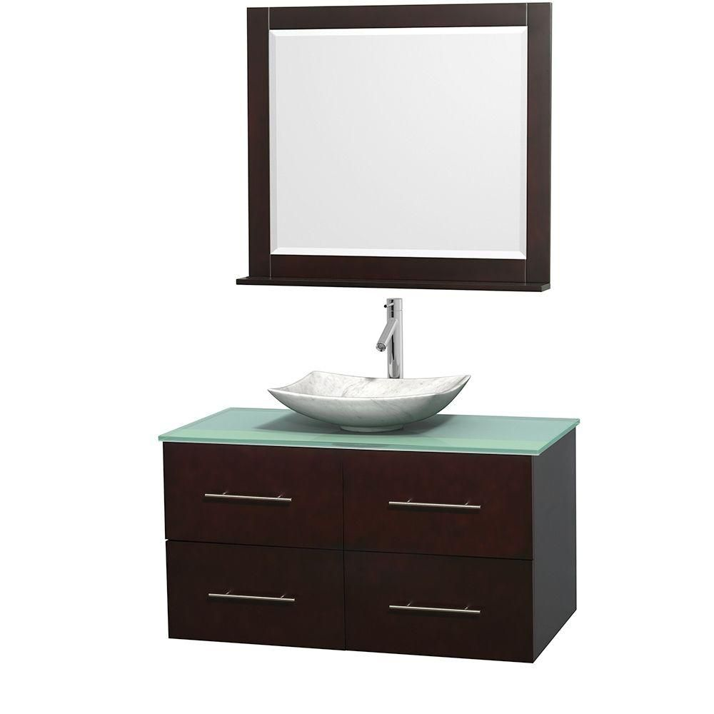 Centra 42-inch W Vanity in Espresso with Glass Top with White Basin and Mirror