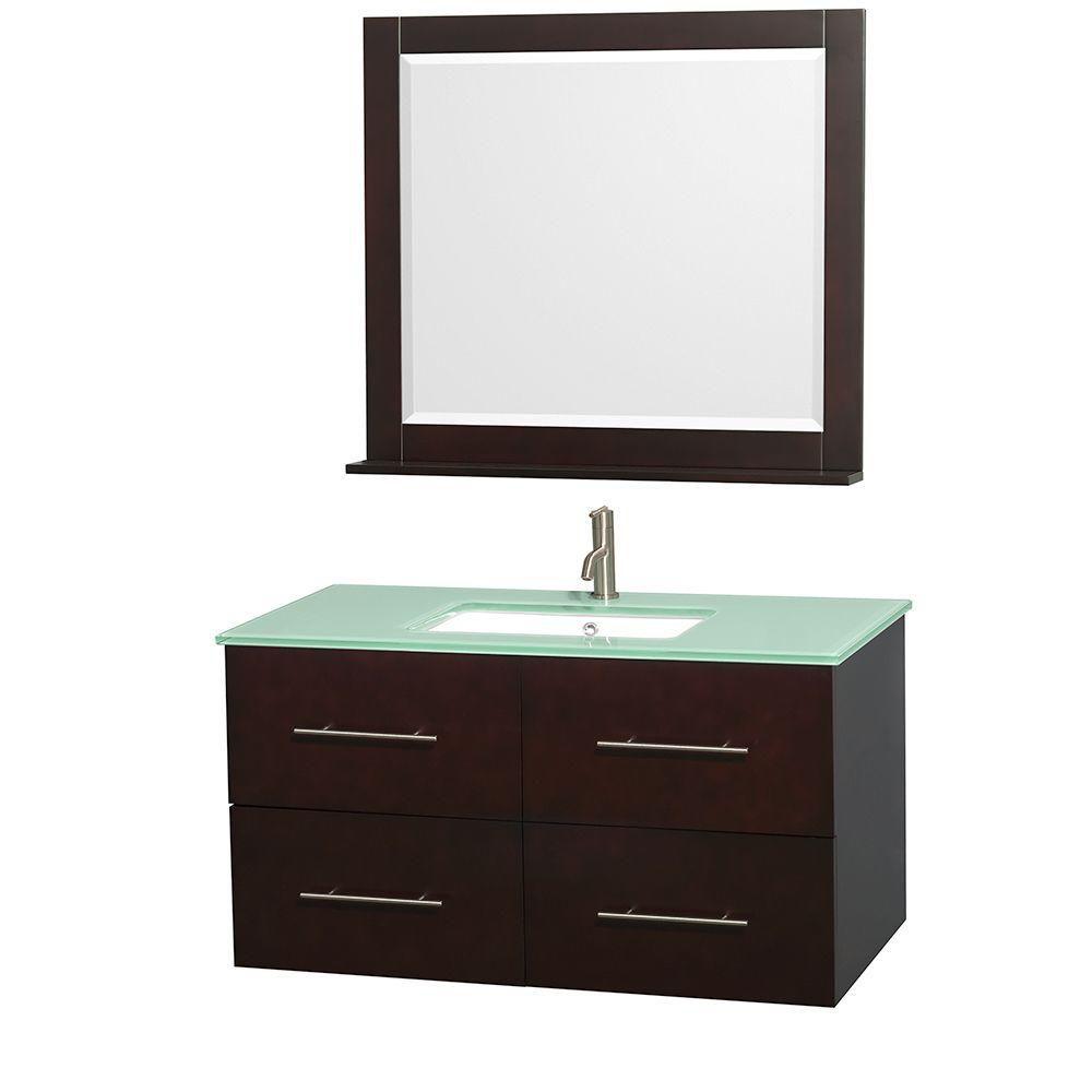 Meuble unique Centra 42 po. espresso, comptoir verre vert, lavabo carré, miroir 36 po.