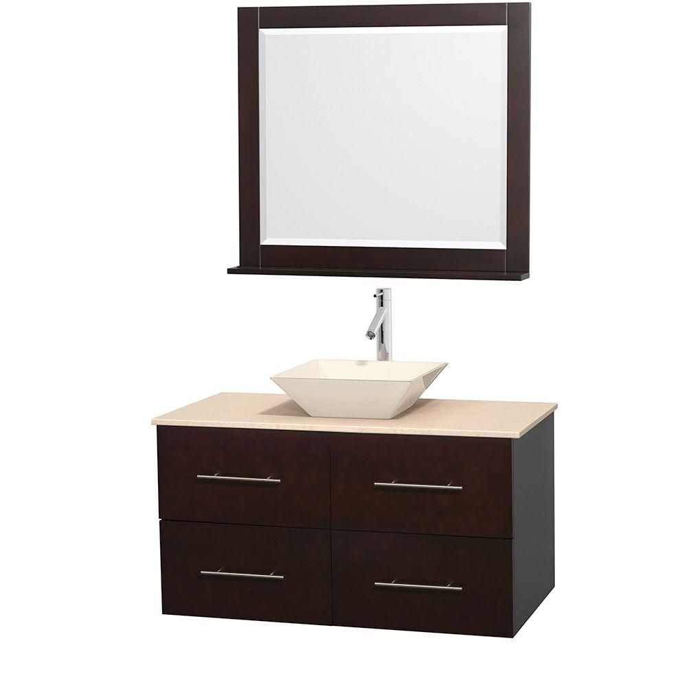 Centra 42-inch W Vanity in Espresso with Marble Top in Ivory with Bone Basin and Mirror