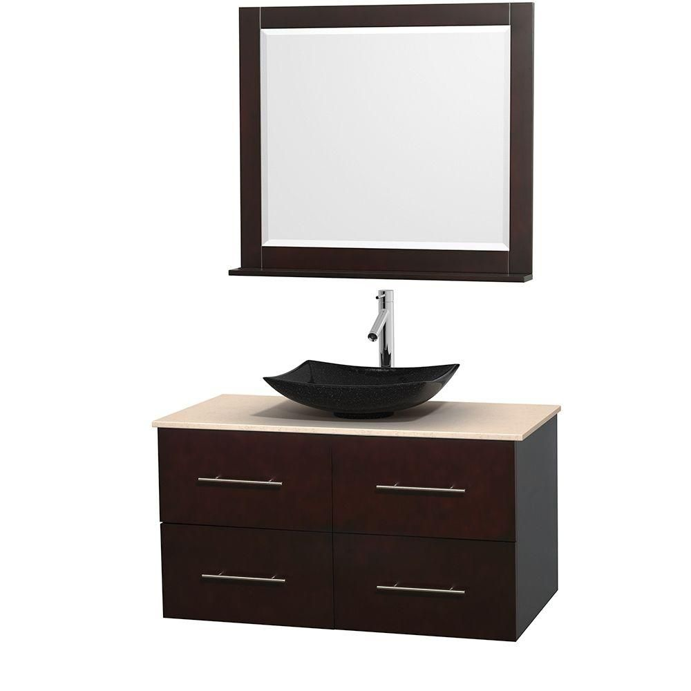 Centra 42-inch W Vanity in Espresso with Marble Top in Ivory with Black Basin and Mirror
