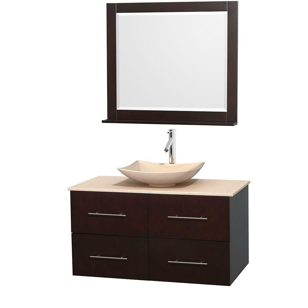 Centra 42-inch W Vanity in Espresso with Marble Top in Ivory with Ivory Basin and Mirror