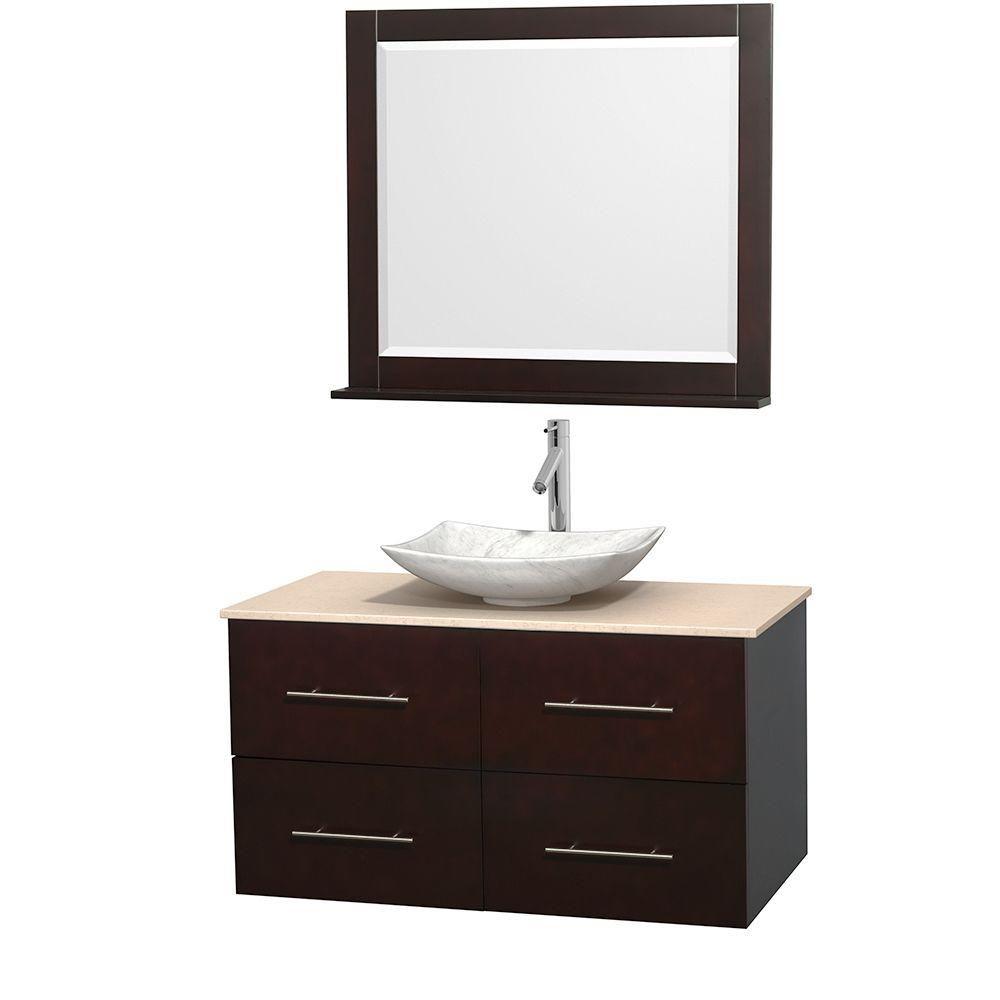 Meuble simple Centra 42 po. espresso, comptoir marbre ivoire, lavabo blanc Carrare, miroir 36 po.