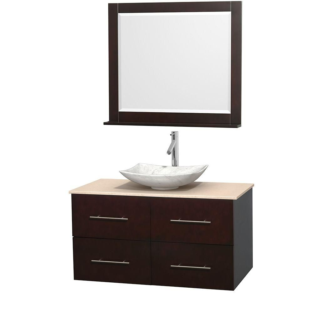 Centra 42-inch W Vanity in Espresso with Marble Top in Ivory with White Basin and Mirror