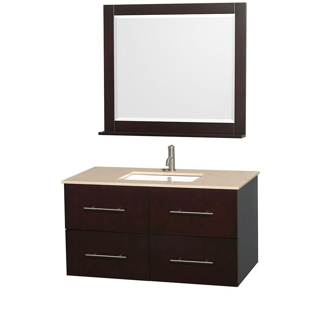 Centra 42-inch W Vanity in Espresso with Marble Top in Ivory with Square Basin and Mirror