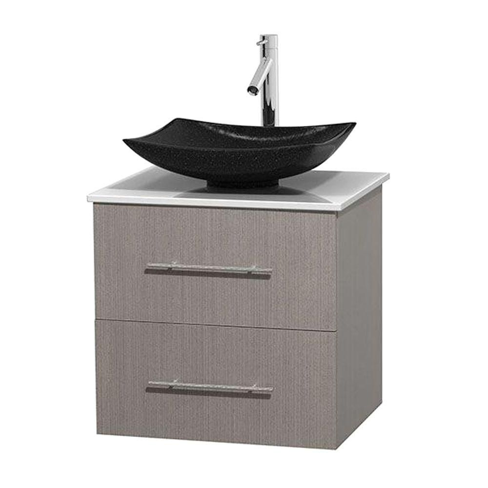 Centra 24-inch W Vanity in Grey Oak with Solid Top with Black Basin
