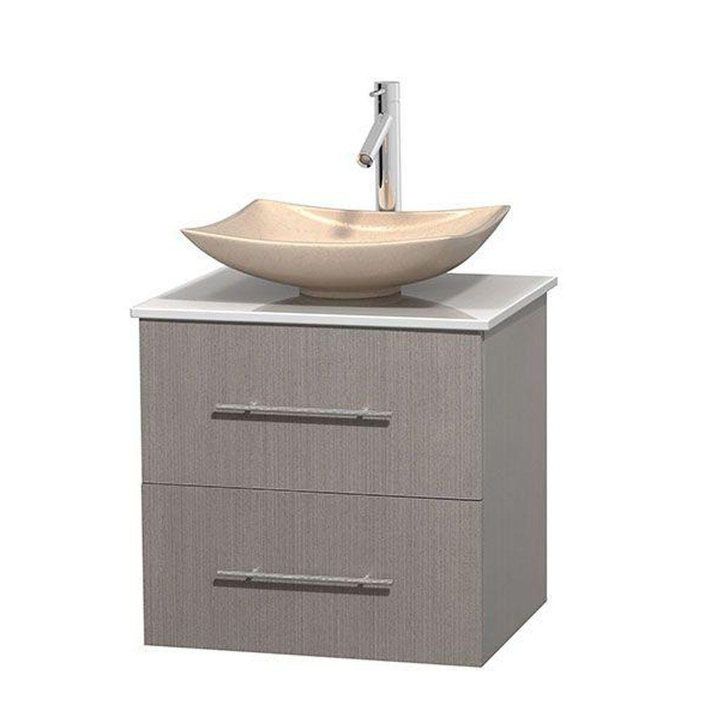 Meuble simple Centra 24 po. chêne gris, comptoir solide, lavabo ivoire, sans miroir