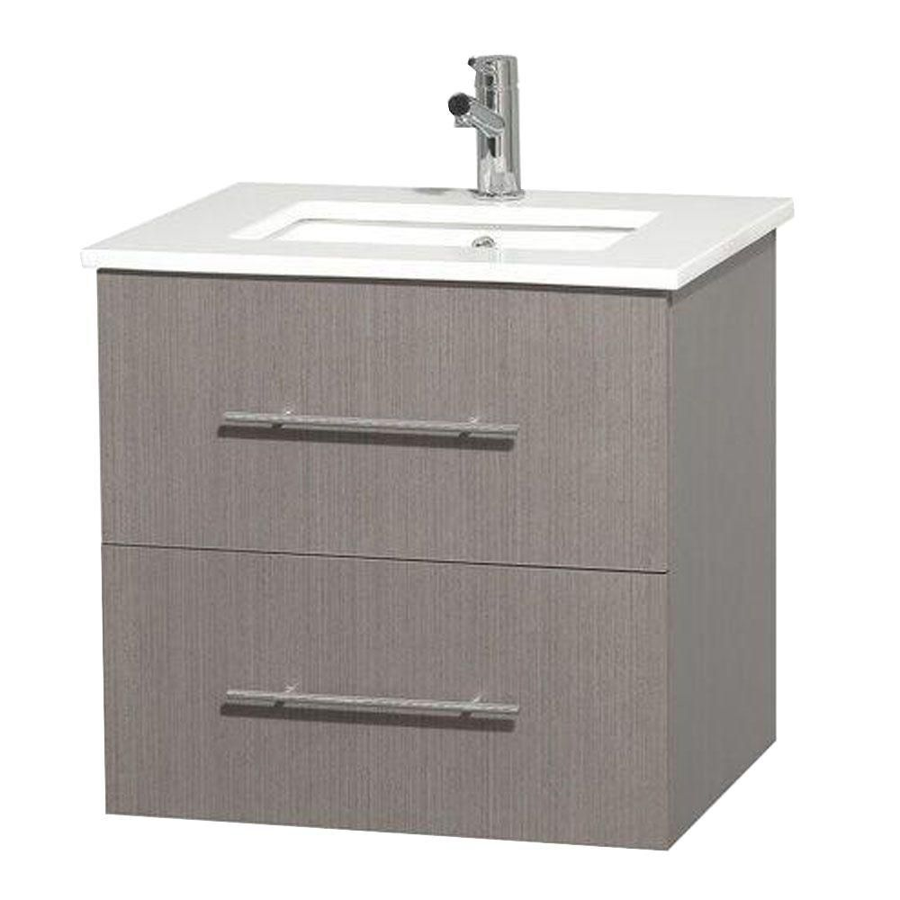 Centra 24-inch W Vanity in Grey Oak with Solid Top with Square Basin