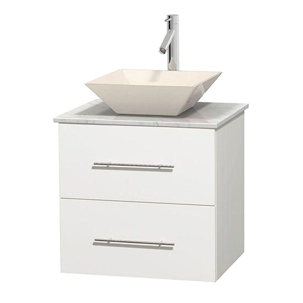 Centra 24-inch W Vanity in White with White Top with Bone Basin