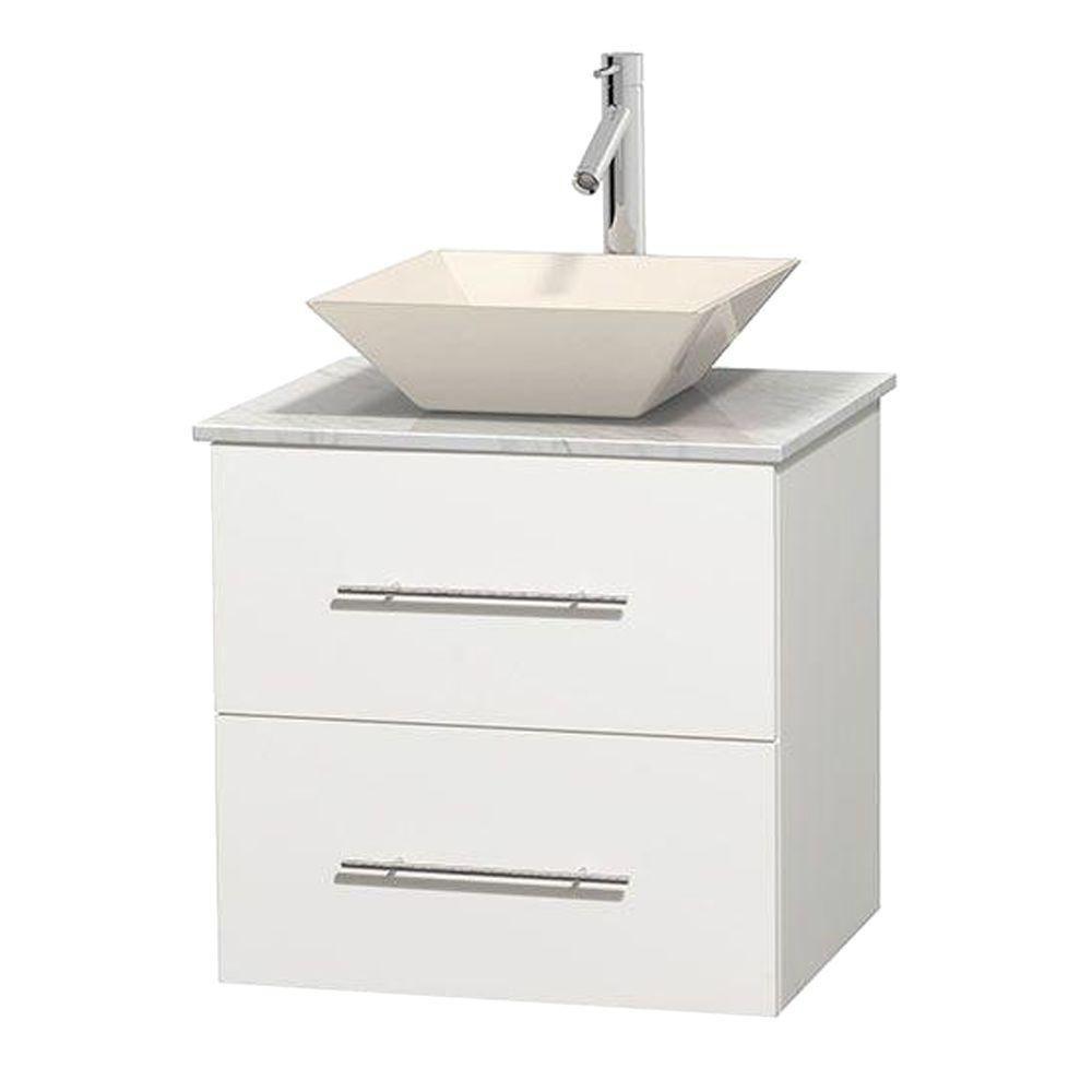 Meuble unique Centra 24 po. blanc, comptoir blanc Carrare, lavabo porcelaine bone sans miroir