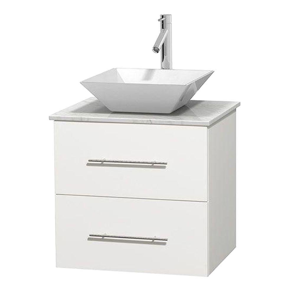 Meuble unique Centra 24 po. blanc, comptoir blanc Carrare, lavabo porcelaine blanche sans miroir
