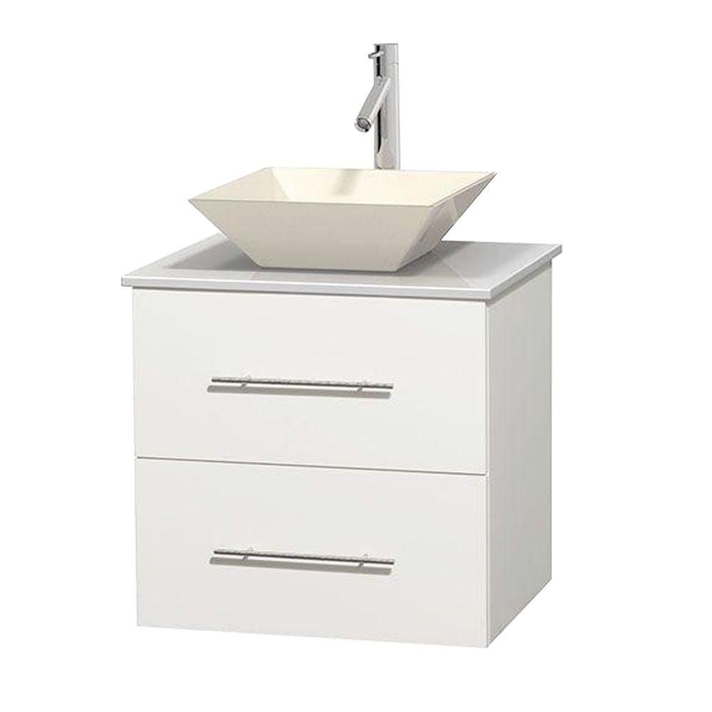 Meuble unique Centra 24 po. blanc, comptoir solide, lavabo porcelaine bone sans miroir