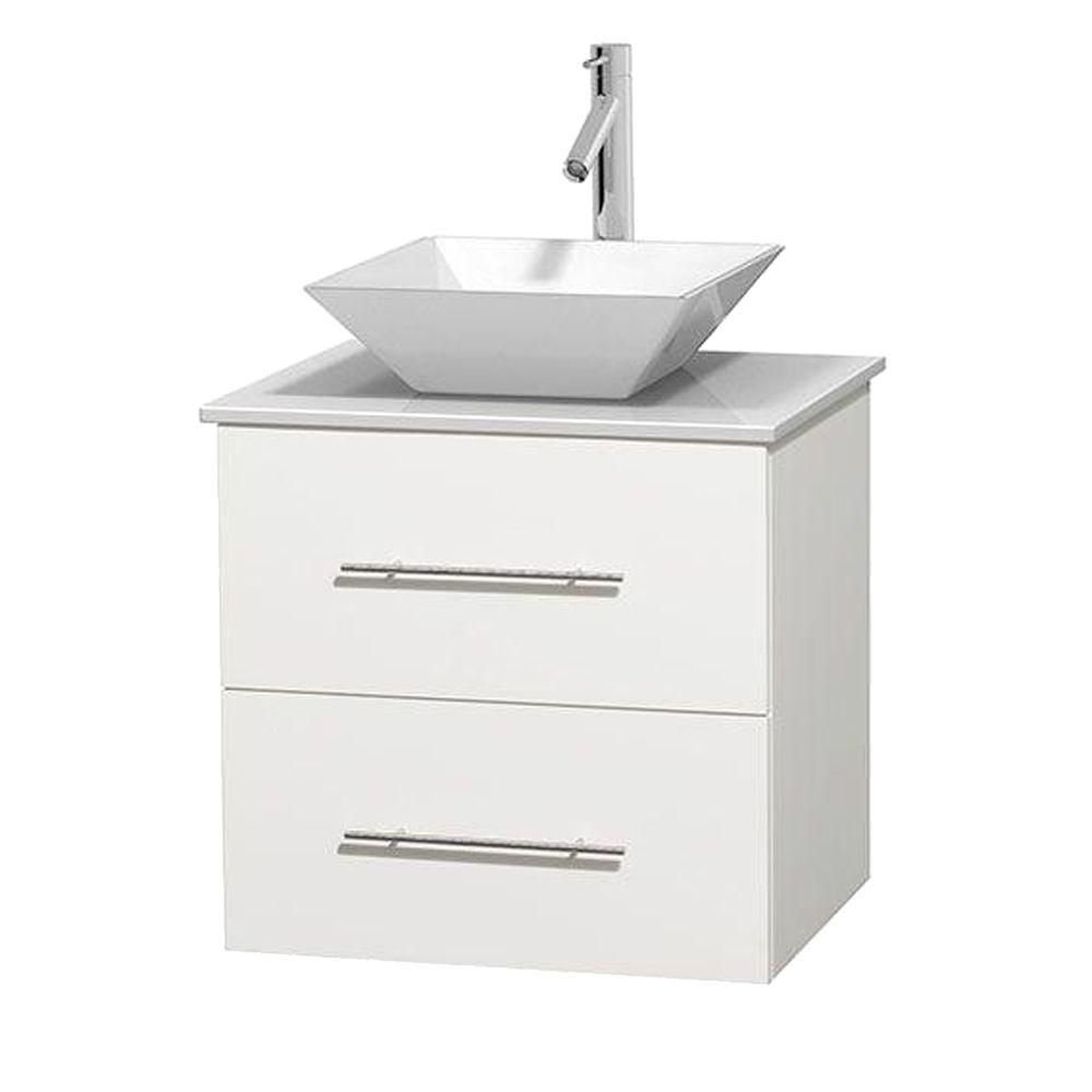 Centra 24-inch W Vanity in White with Solid Top with White Basin