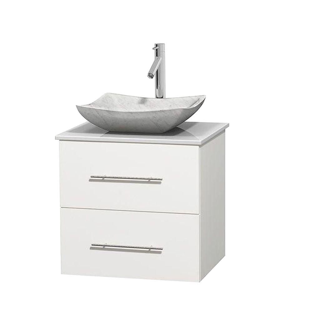 Wyndham Collection  Meuble simple Centra 24 po. blanc, comptoir solide, lavabo blanc Carrare, sans miroir