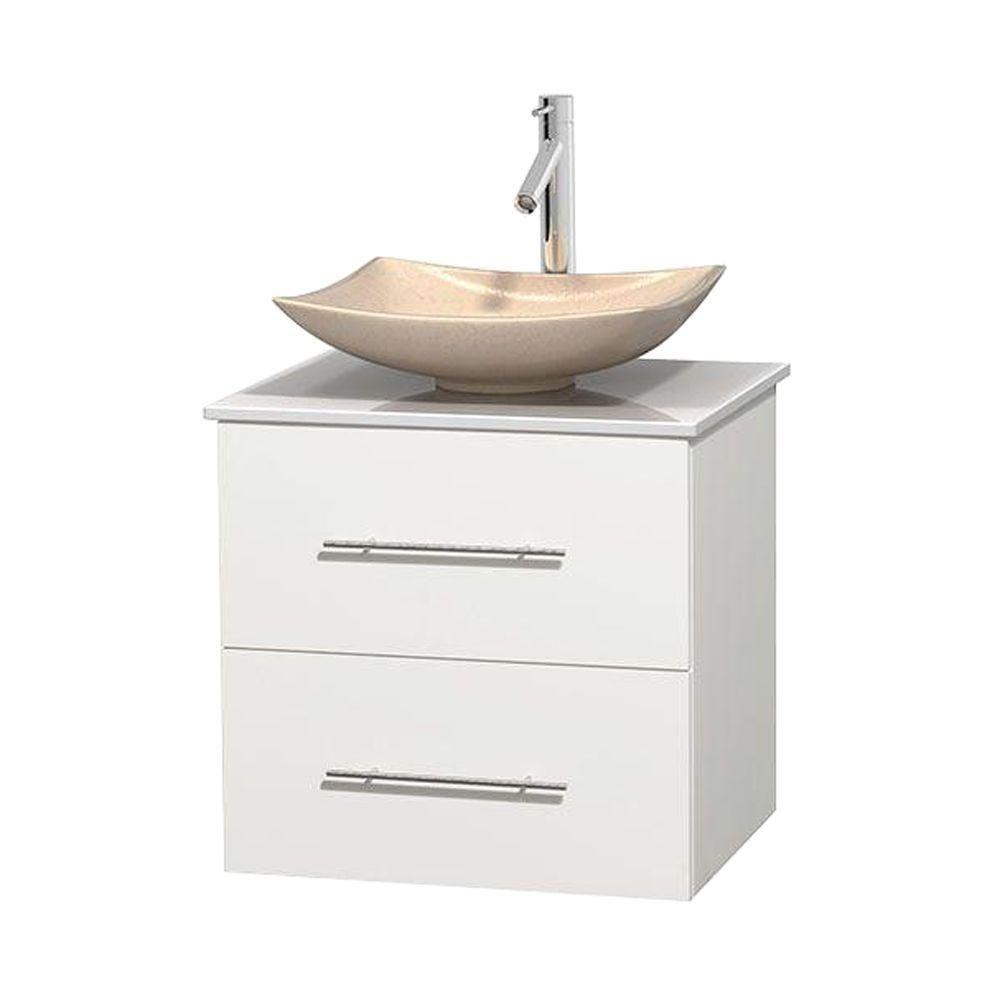 Meuble simple Centra 24 po. blanc, comptoir solide, lavabo ivoire, sans miroir