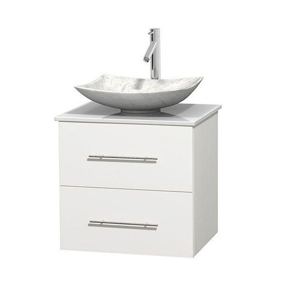 Meuble simple Centra 24 po. blanc, comptoir solide, lavabo blanc Carrare, sans miroir