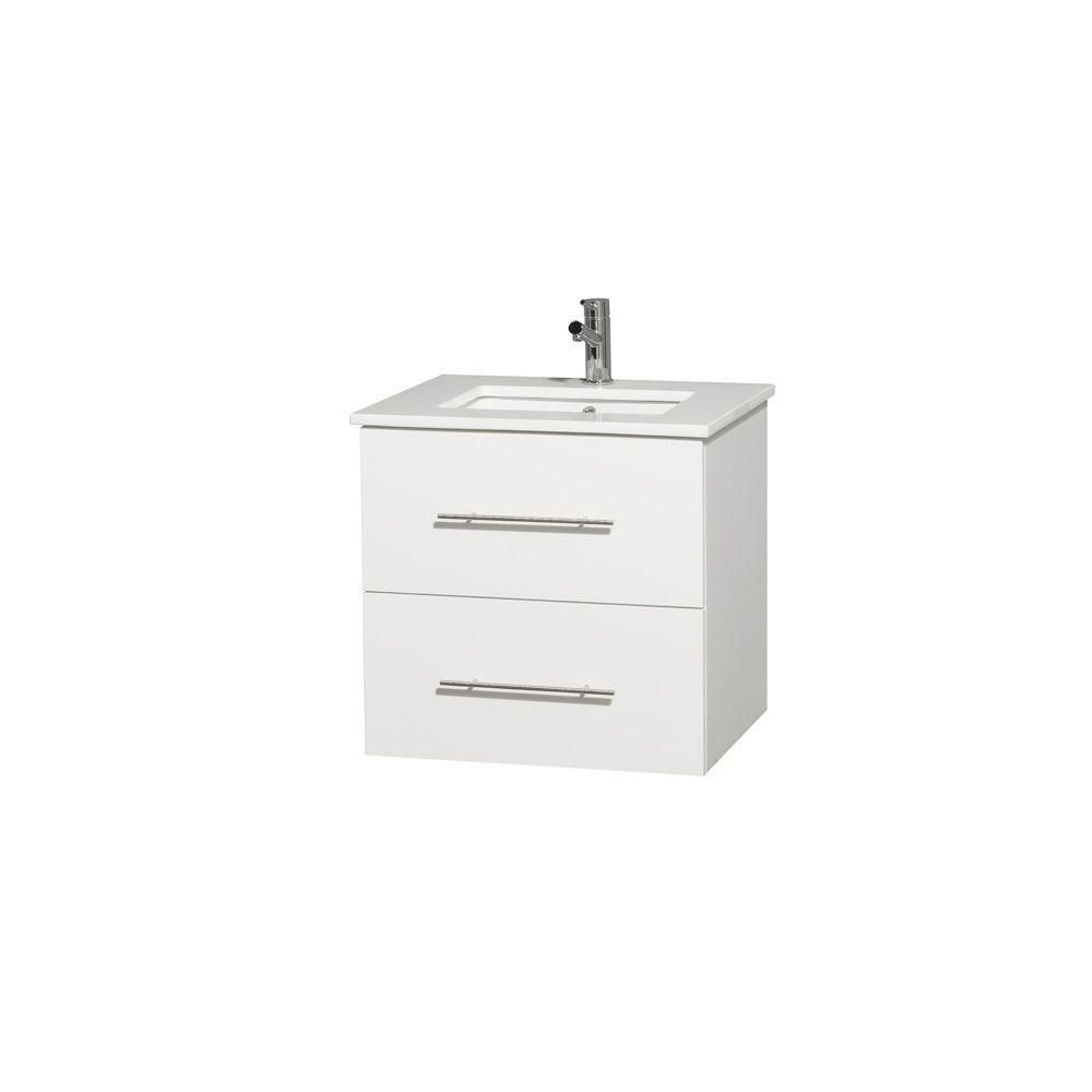 Centra 24-inch W Vanity in White with Solid Top with Square Basin