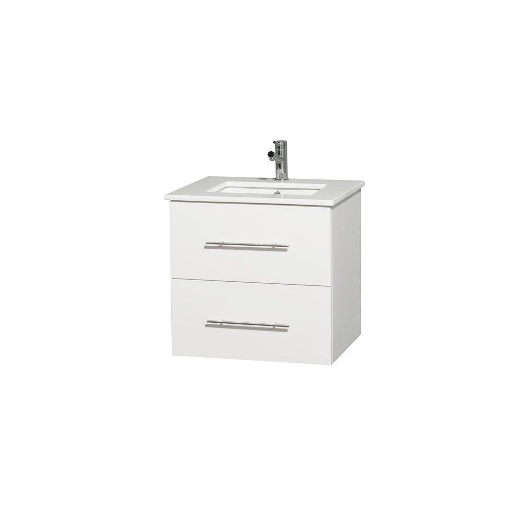 Wyndham Collection Meuble unique Centra 24 po. blanc, comptoir solide, lavabo carré sans miroir