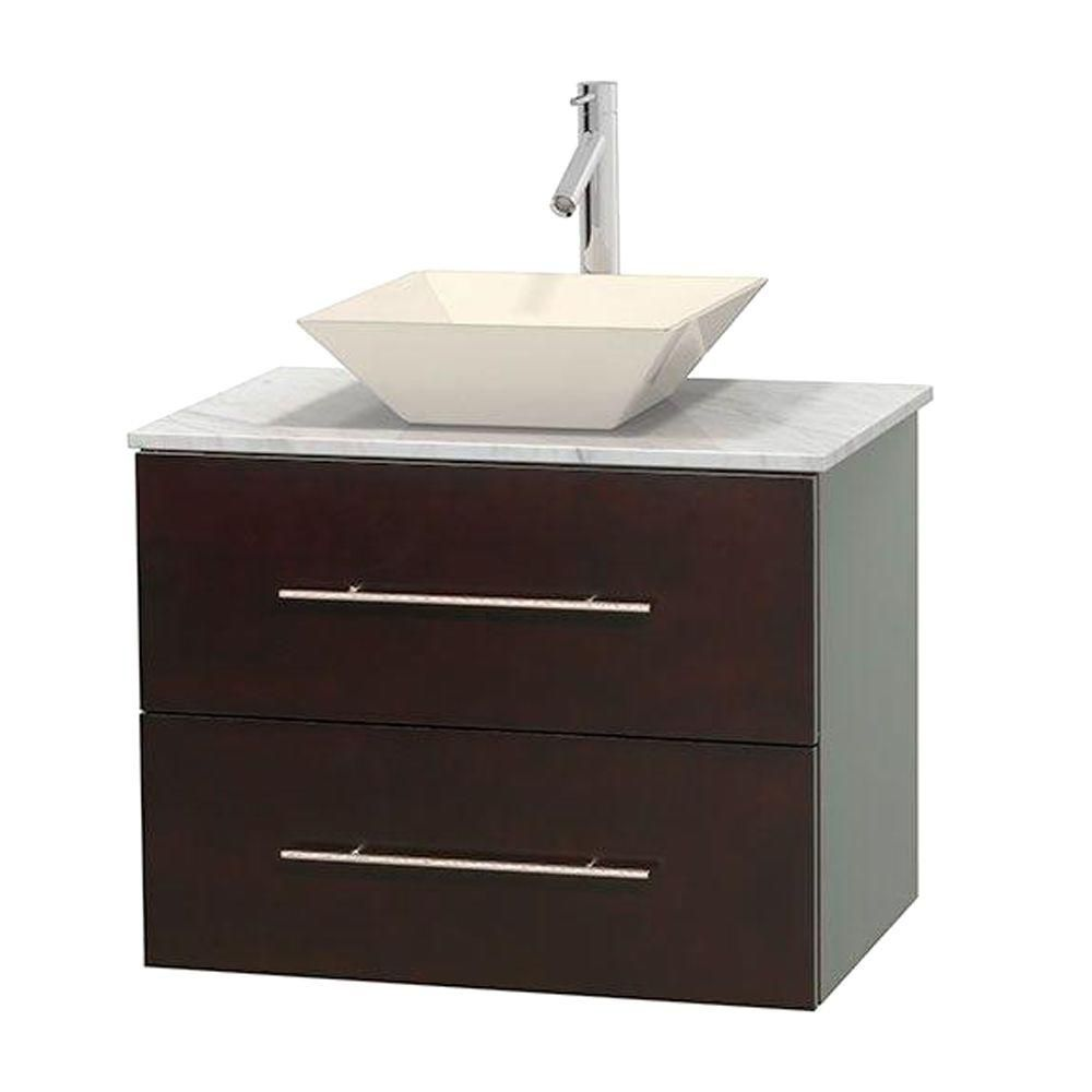 Wyndham Collection Centra 30-inch W 1-Drawer 1-Door Wall Mounted Vanity in Brown With Marble Top in White
