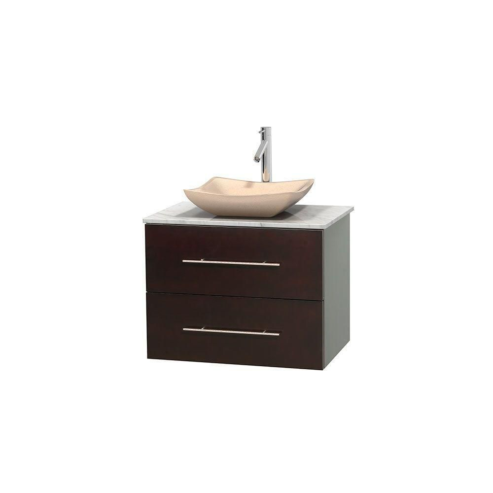 centra 30 in single vanity in espresso with white carrera top with