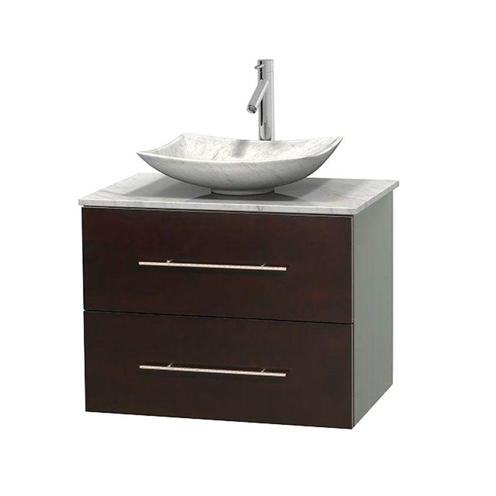 Meuble simple Centra 30 po. espresso, comptoir blanc Carrare, lavabo blanc Carrare, sans miroir