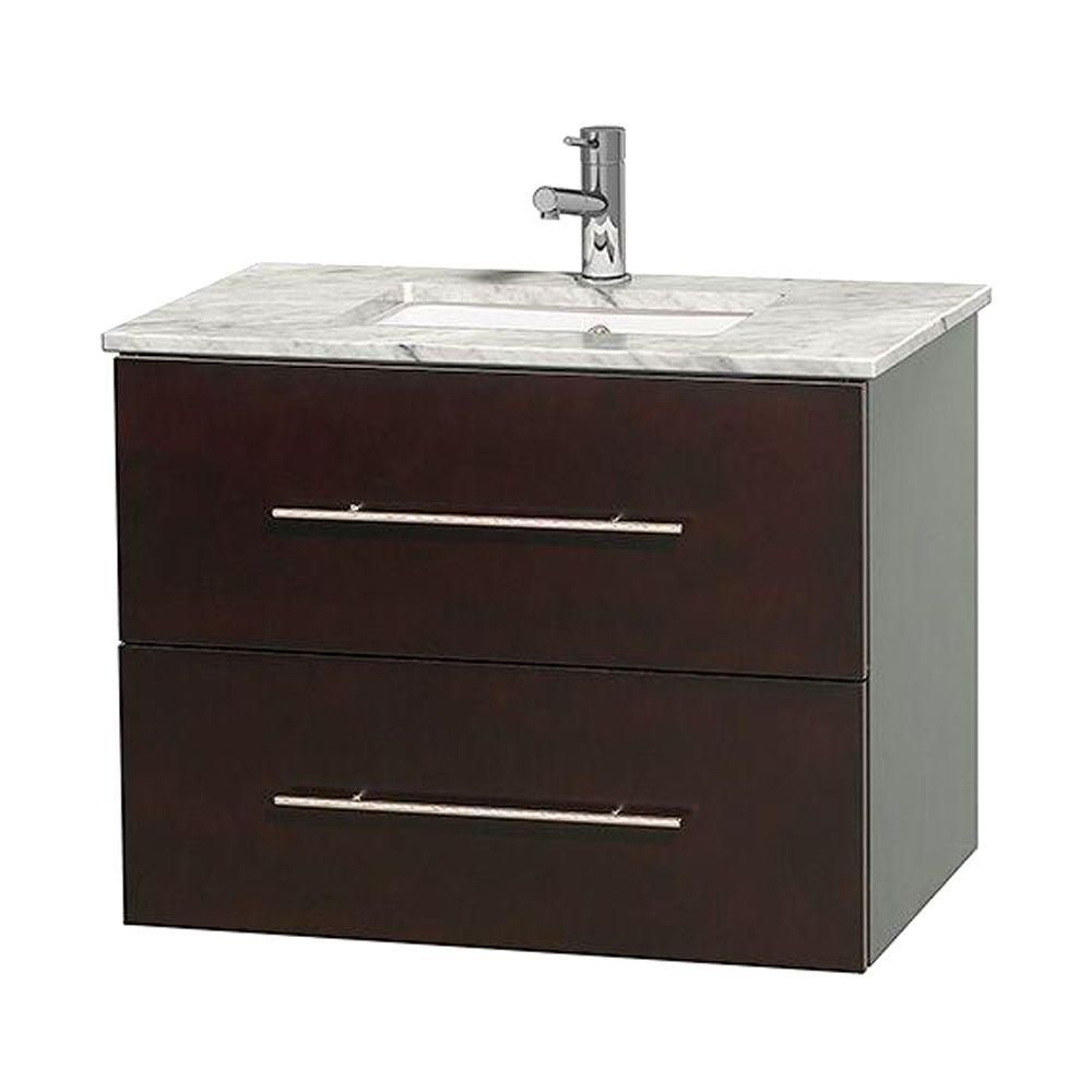 Centra 30-inch W Vanity in Espresso with White Top with Square Basin