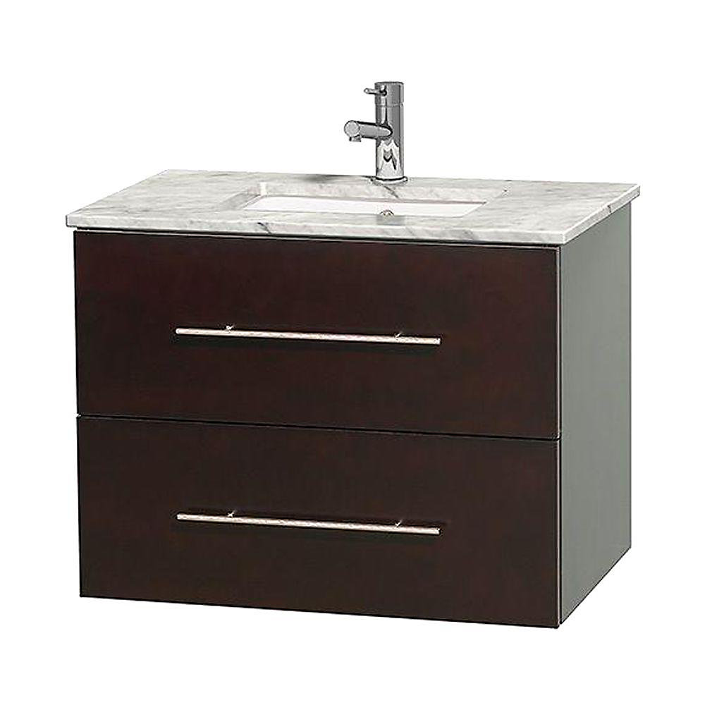Centra 30-inch W 1-Drawer 1-Door Wall Mounted Vanity in Brown With Marble Top in White