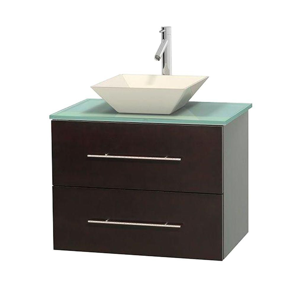 Centra 30-inch W Vanity in Espresso with Glass Top in Ivory with Bone Basin
